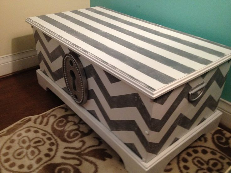 chevron painted toy chest..... I so need to get an old toy chest and do this! I love it!
