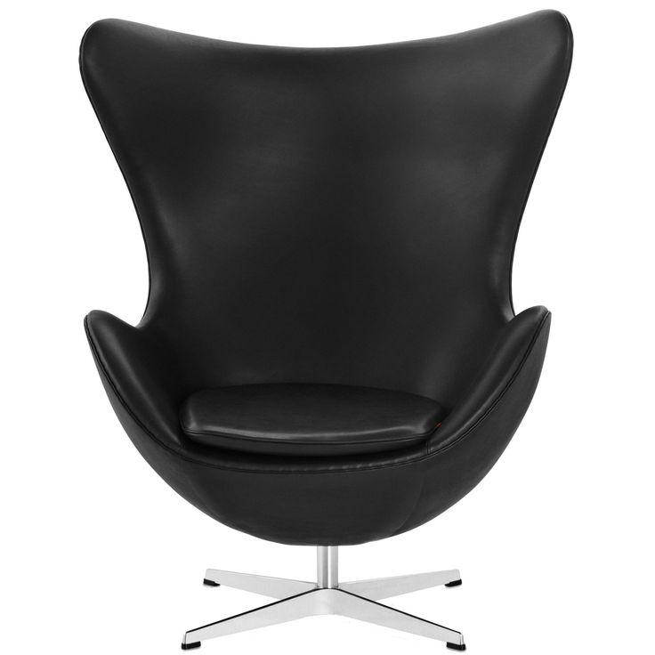 Ägget fåtölj m. returmekanism, basic läder svart i gruppen Möbler / Fåtöljer & Sittpuffar / Fåtöljer hos RUM21.se (103431)