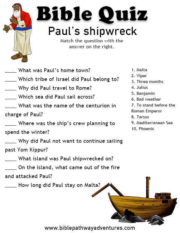 Printable bible quiz - Paul's Shipwreck