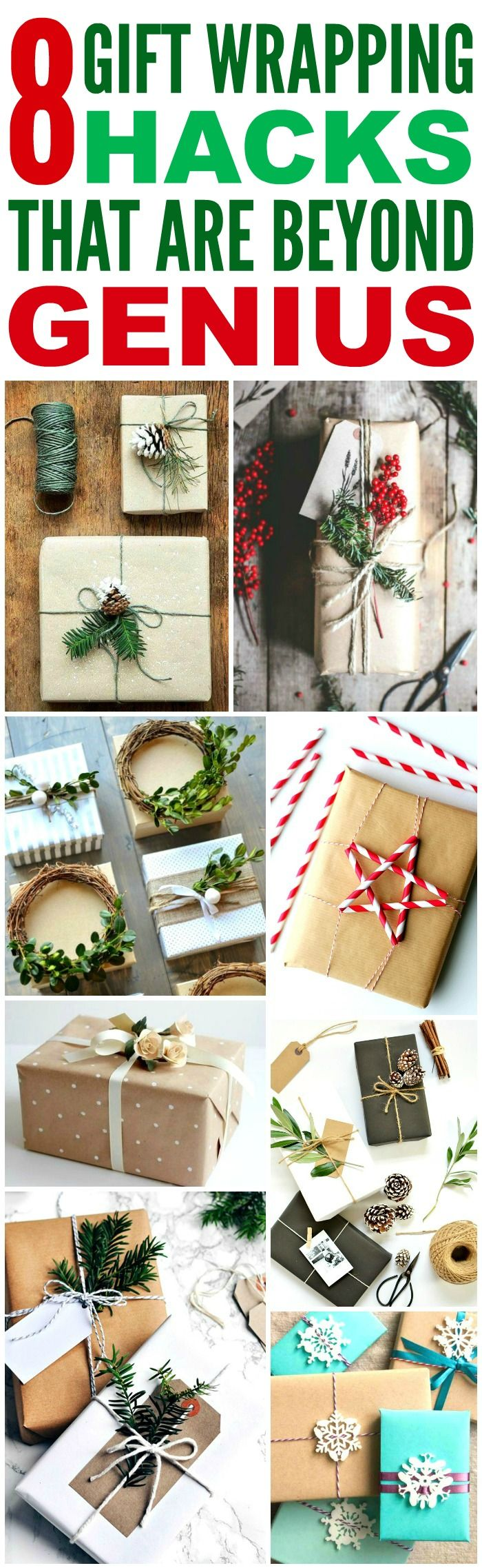 These 8 Gift Wrapping hacks are GENIUS! I'm so glad I found these AMAZING tips! Now I can impress my friends and family with beautiful presents! Definitely pinning!