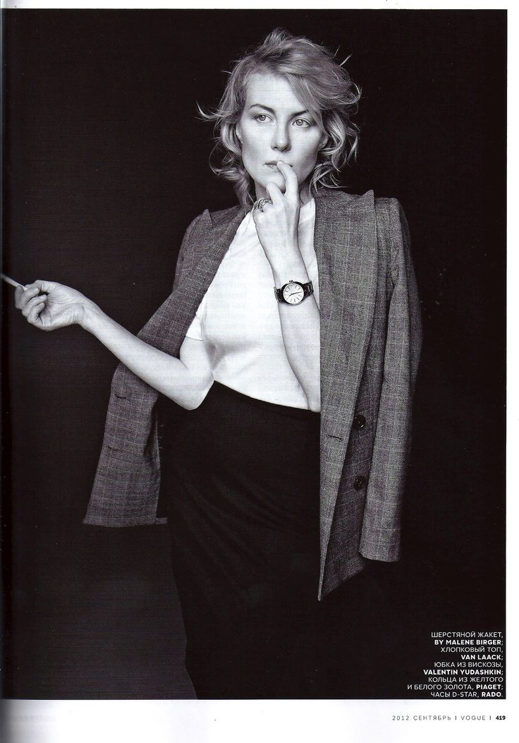 """Russian actress and director Renata Litvinova wearing """"Zaccheo"""" blazer from AW2012 in Russian Vogue, September issue"""