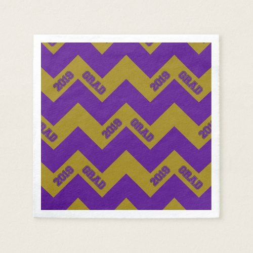 2019 Grad Chevron-PAPER PARTY NAPKINS,Purple-Gold Napkin