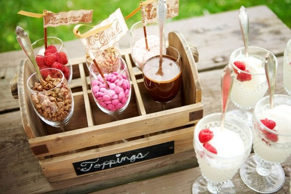 Ice cream sundae desert bar - have toppings, fudge, etc out, as well as brownies and those adorable apple-pie-in-the-apple pinterest finds. SUPER cute.