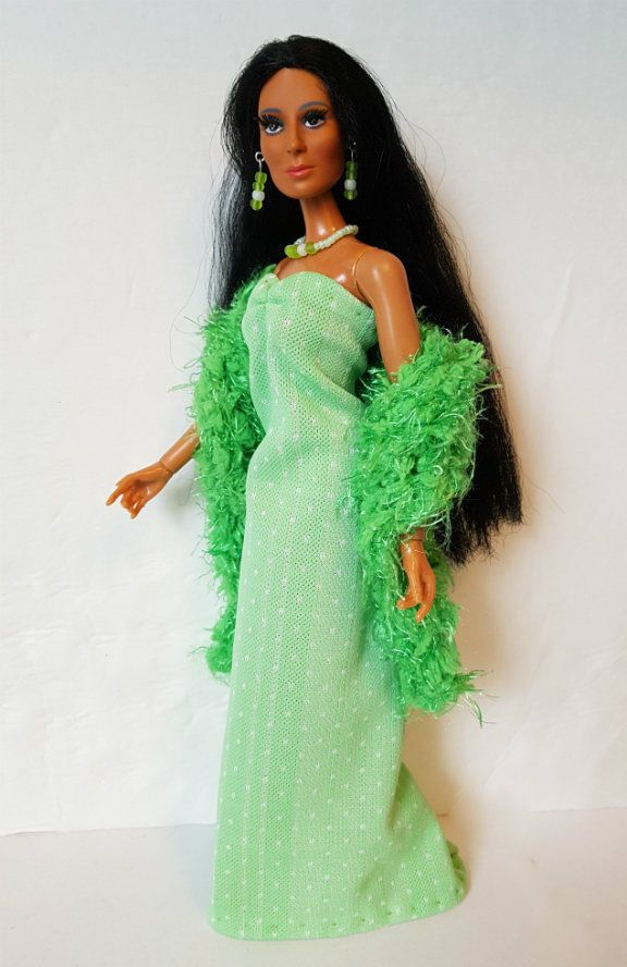 Mego CHER FARRAH Doll Handmade Clothes BOA GOWN & JEWELRY Fashion NO DOLL d4e #DOLLS4EMMA #ClothingAccessories