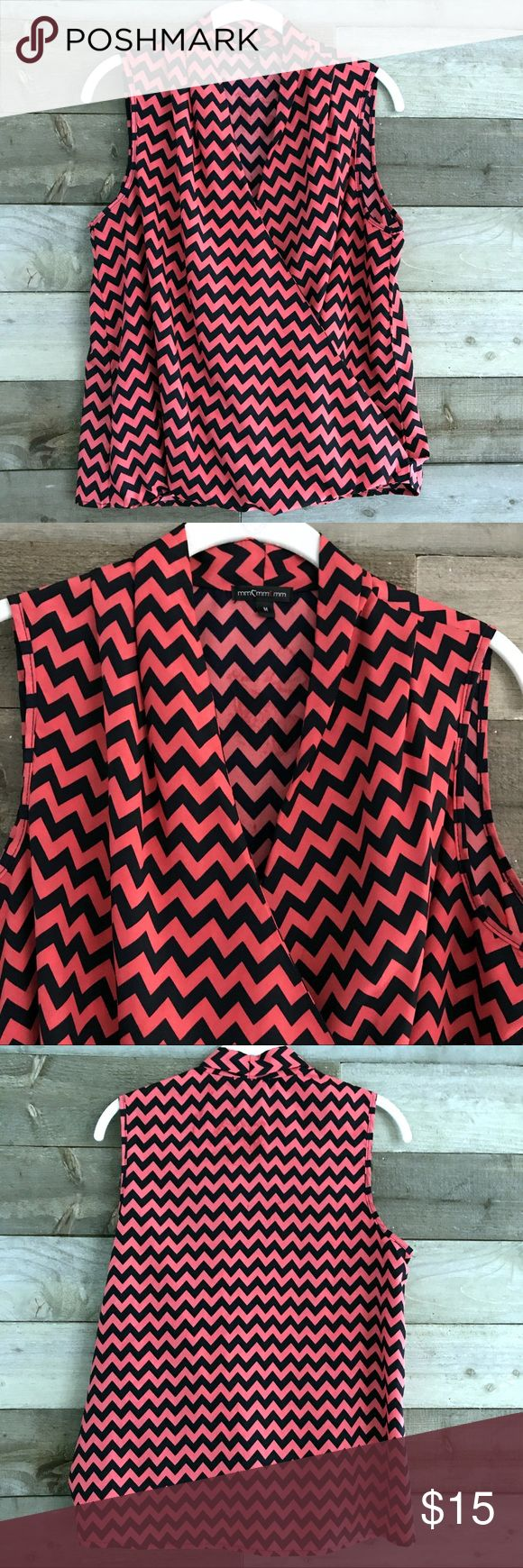 Cross Front Chevron Blouse This blouse is funky and fun. Cross Front with a coral and navy Chevron pattern. MCM Tops Blouses