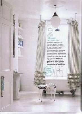 Clawfoot Tub Shower Enclosure Ideas. Ruffled shower curtains around a clawfoot bath on white floors  104 best Claw Tub Bathroom Ideas images Pinterest Bathrooms
