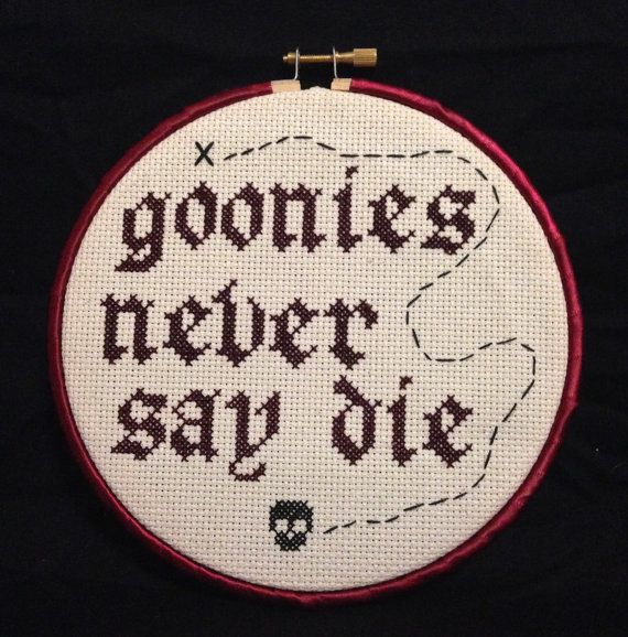 Goonies+Never+say+Die+cross+stitched+wall+art+by+CinemaStitches