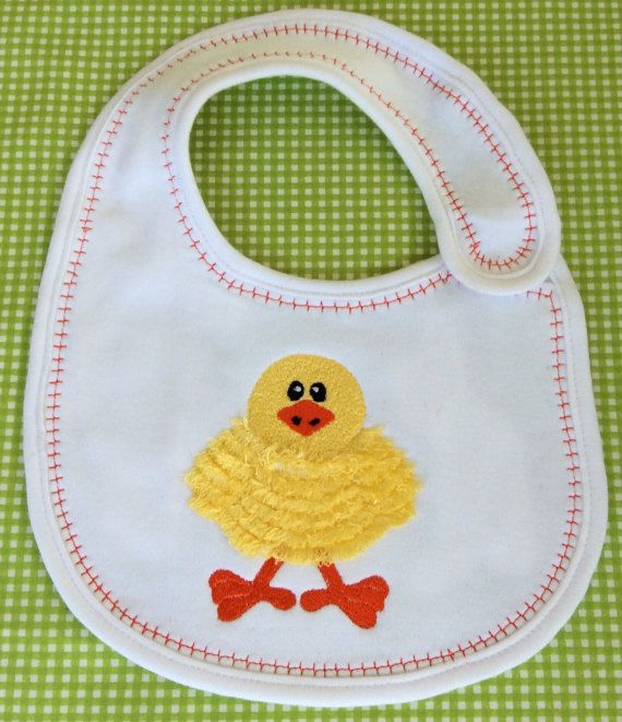 Baby chicken embroidery baby bib baby by Pobblebonksdesigns