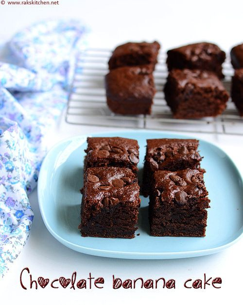 An easy, simple eggless chocolate cake with banana - made with wheat flour. With step by step pictures and Video.