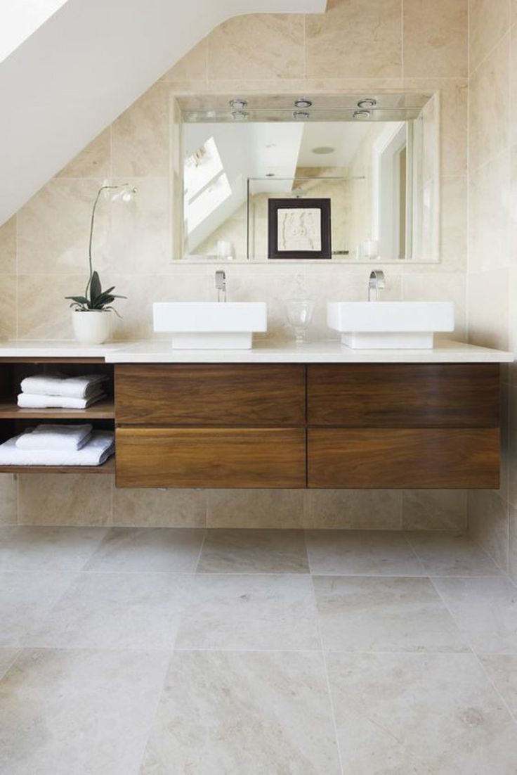 Travertin Fliesen Badgestaltung Ideen Waschtisch Aus Holz