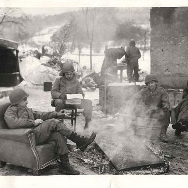 WWII U.S. 5th Division, 3rd Army Soldiers Relax in Luxembourg