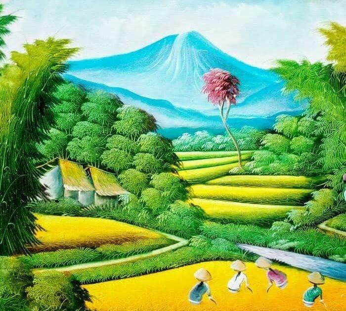 25 Gambar Pemandangan Alam Di Pegunungan Jual Lukisan Pemandangan Alam Pegunungan Dan Sawah Ukuran 80x60 Jakarta Selatan Likur So Di 2020 Pemandangan Gambar Lukisan