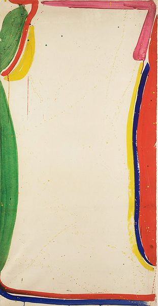 "American abstract painter Sam Francis, Untitled 1965. His paintings of the 50/60's evolved through a series of stages, beginning with monochromatic abstractions, followed by larger richly-colored murals and ""open"" paintings that feature large areas of whiteness."