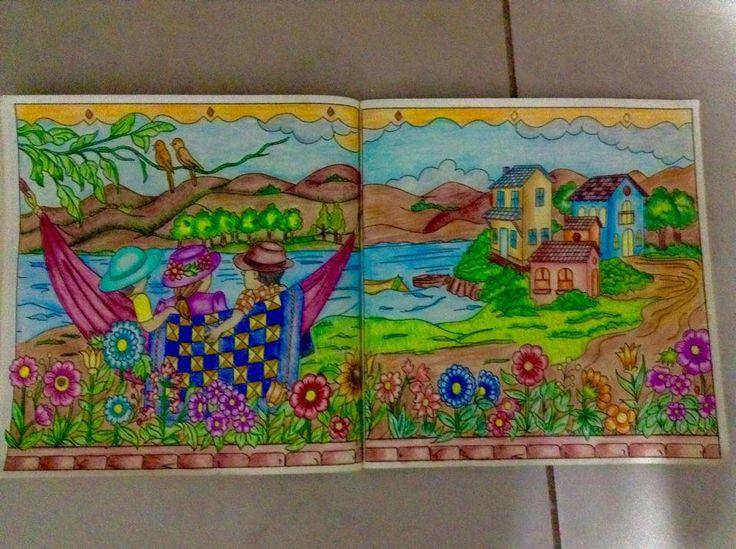 Páginas do livro Pinte o Quilt no Campo coloridas pela Sandra Regina.
