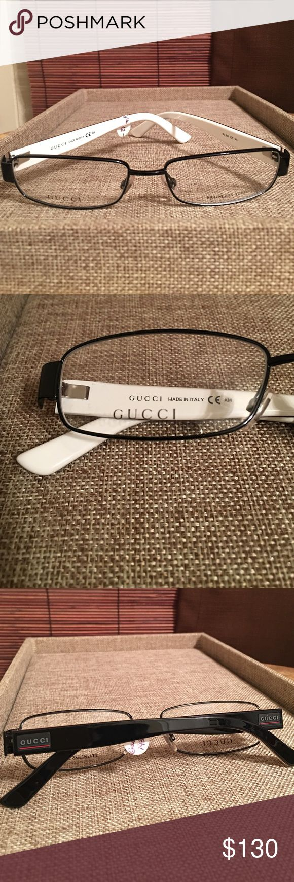 Gucci Designer Frame (Men) New men Gucci Designer Frame gorgeous Frame black with white inside lining with a touch of red on side logo,,, very bold one of my favorites. REDUCE LISTING FIRM!!!! Gucci Accessories Glasses