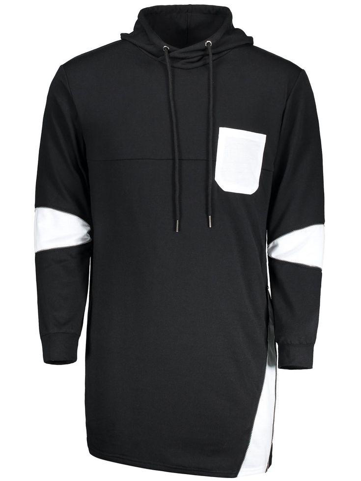 Hooded Color Block Pocket Zipper Long Hoodie