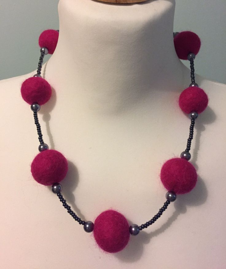 Pink and blue felt necklace