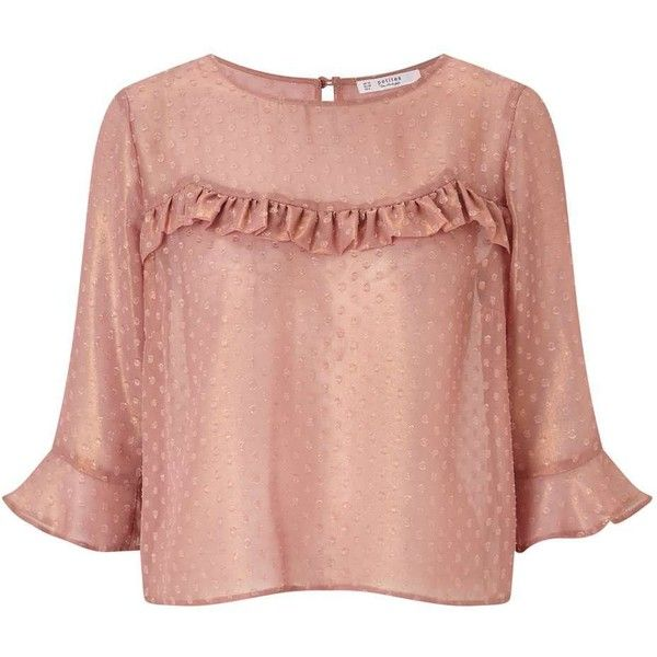 Miss Selfridge PETITE Dobby Blouse ($60) ❤ liked on Polyvore featuring tops, blouses, nude, petite, red blouse, red top, miss selfridge tops, nude blouses and miss selfridge