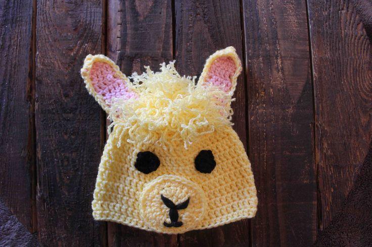 Crocheted llama hat