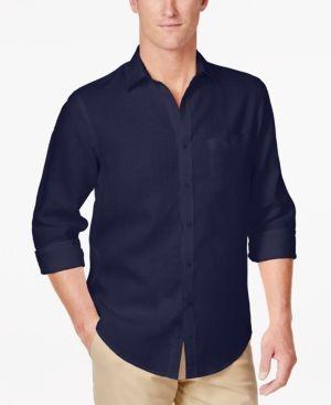 Club Room Men's Raymond Linen Shirt, Only at Macy's - Blue XXL