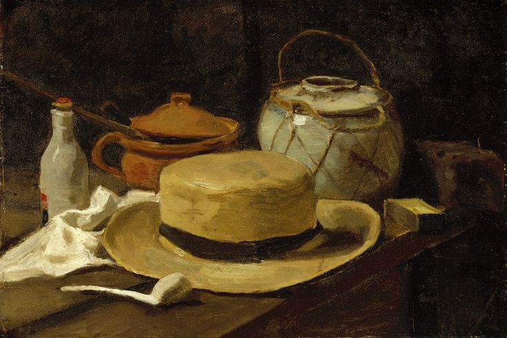 """https://www.facebook.com/VincentvanGogh.MiaFeigelson.Gallery  [Painting made in The Hague under Anton Mauve's tutelage] """"Still Life with a straw hat"""" (The Hague. Late November - mid December, 1881) [F 62] By Vincent van Gogh, from Zundert, Netherlands (1853 - 1890) - oil on paper on canvas; 36.5 x 53.6 cm . Place of creation: The Hague, Netherlands © Kröller-Müller Museum, Otterlo, Netherlands http://www.kmm.nl/ https://www.facebook.com/KrollerMuller"""