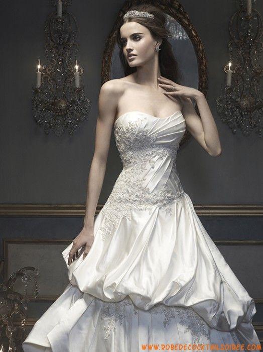 Robe blanche A-line 2013 avec traîne appliques drapé robe de mariée satin