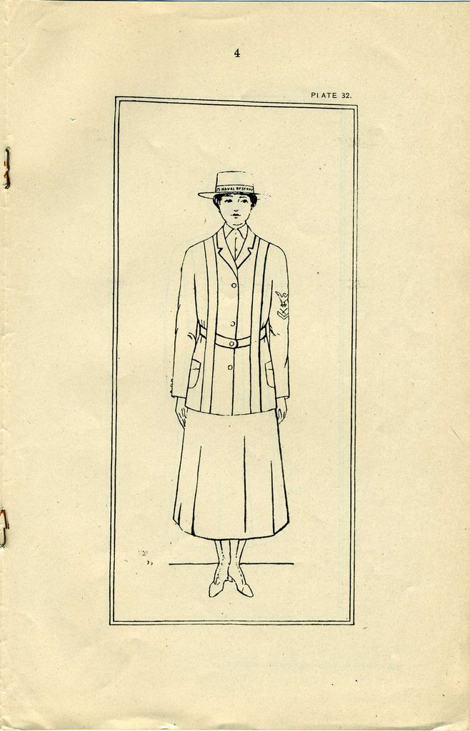 US Navy Reserve Force, Yeoman F, Uniform Regulations WWI  Page 4 Obverse view of uniform with coat and hat.  Collection of Curator Branch Naval History and Heritage Command  Collection of Navy Department Library.