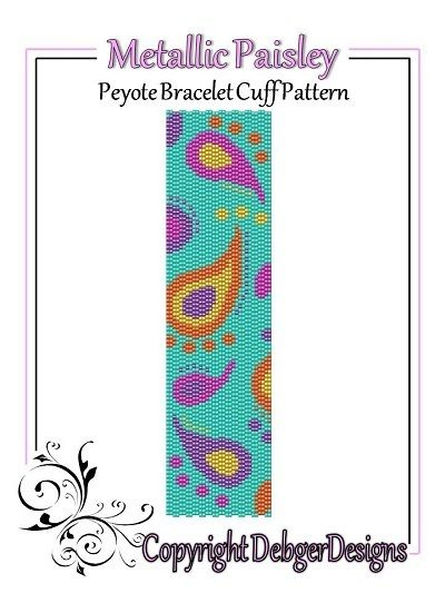 Metallic Paisley - Peyote Bracelet Cuff Pattern  von DebgerDesigns auf DaWanda.com