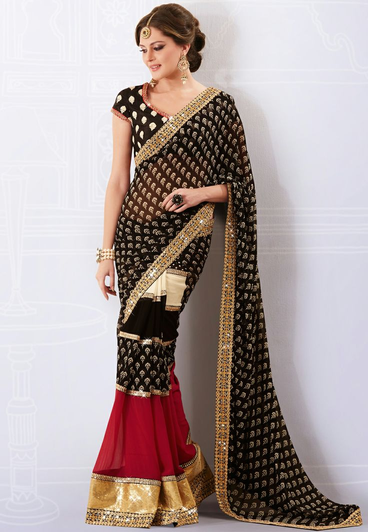 #Black and #Red Faux #Georgette #Saree with Blouse @ $92.80