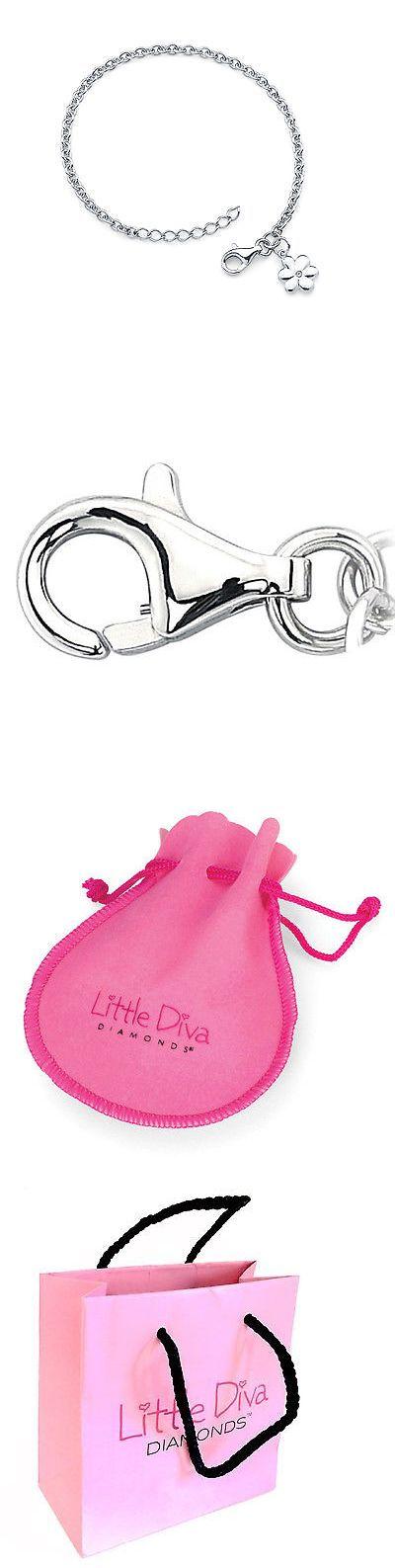 Bracelets 84606: Little Diva Diamonds Silver Childrens Diamond Accent Flower Bracelet -> BUY IT NOW ONLY: $64.68 on eBay!