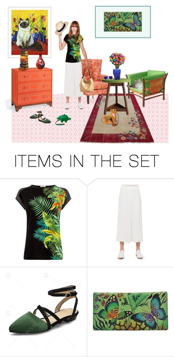 """Kate's living room"" by happiestime ❤ liked on Polyvore featuring art, living room, tropical, bags, animals, wideleg and anklepants"