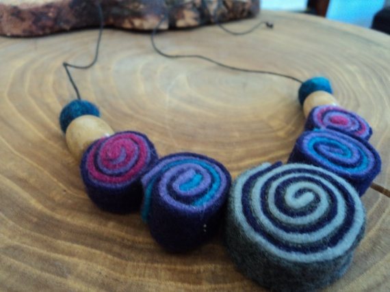 Felt handmade necklace by PatagonianHands on Etsy, $10.00