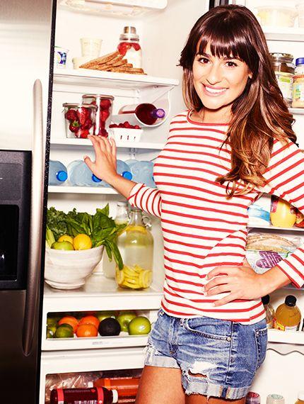 Want to eat like a celebrity? Take a peek inside Lea Michele's refrigerator! // #Celebrity #Health #Fitness