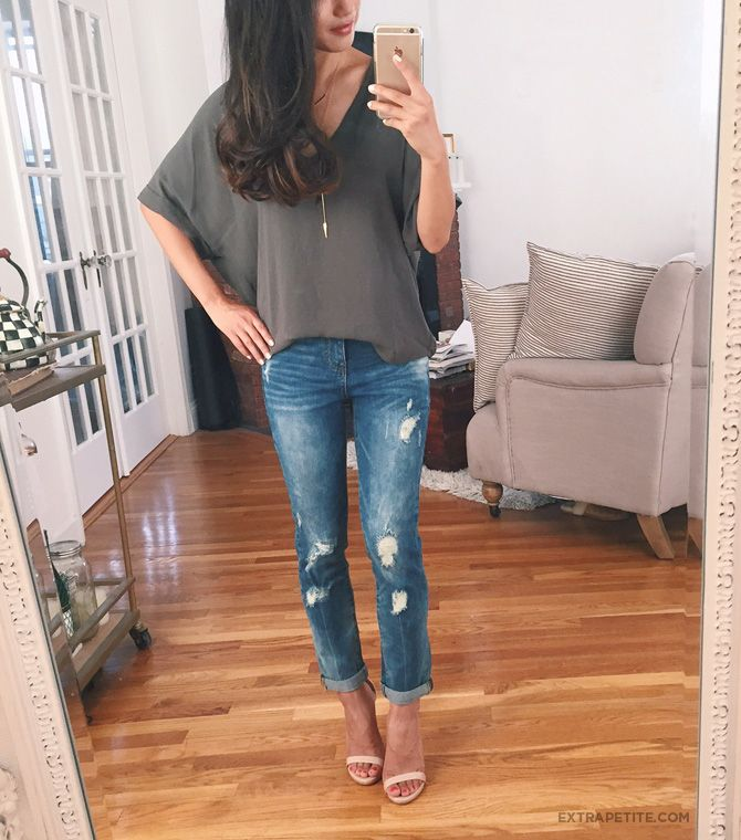 casual outfit: slouchy dolman sleeve tee, boyfriend jeans, strappy heels