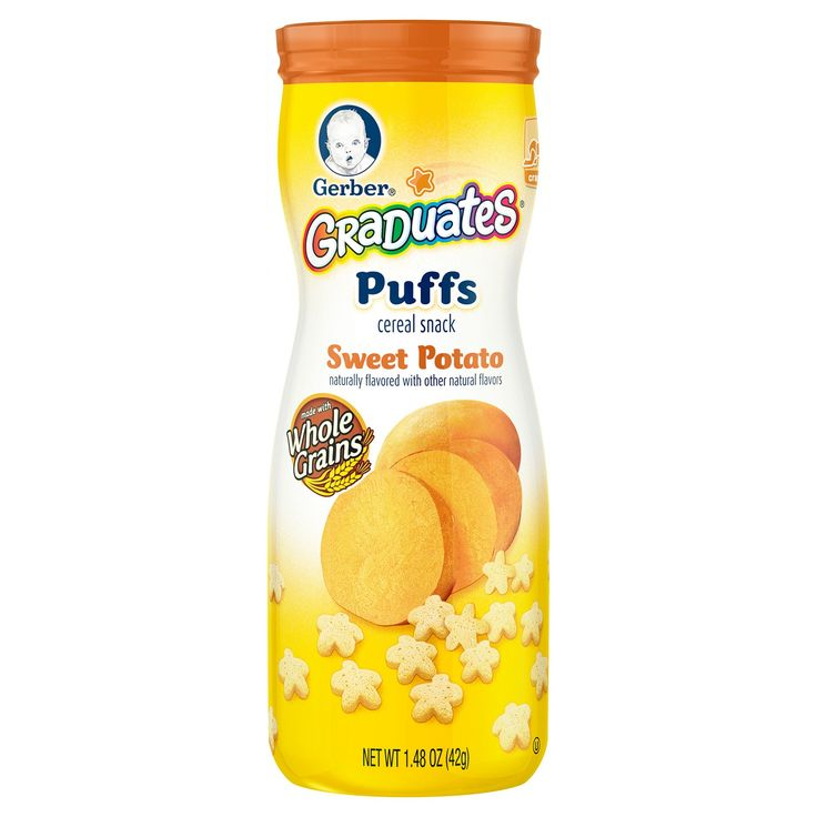 Nourish your little one with whole grain goodness by serving  Gerber Graduates  Puffs Cereal Snack  at snack time . Gerber Graduates  Puffs  Cereal Snack have 2 grams of whole grains per serving, and 5 vitamins and minerals making them an ideal snack for  your older baby learning to self feed.  Gerber Graduates  Puffs Cereal Snack are easy to chew and swallow and are just the right size for  little hands to pick up and enjoy.   <br>Gerber Graduates Puffs  Cereal Snack, Sweet Potato,  Na...