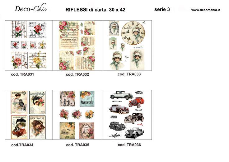Riflessi di Carta: 6 carte formato A3 a colori per il trasferimento di pigmento con liquido Deco-TRANSFER-mania Store online:www.deco-chic.it