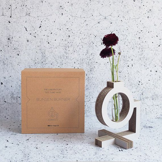 Bunsen burner test tube vase. The Lab collection. Form Maker. Cardboard. Eco friendly homeware.