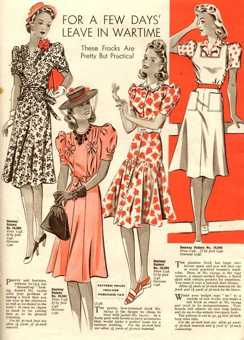 """For A Few Day's Leave in Wartime ~ These Frocks Are Pretty But Practical."" ~ WWII era women's fashions."
