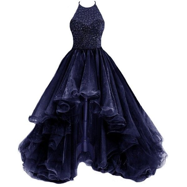 Amazon.com: TBGirl Women's High Low Beading Navyblue Organza Halter... ❤ liked on Polyvore featuring dresses, hi lo dresses, blue homecoming dresses, halter top prom dress, beaded prom dresses and high low homecoming dresses