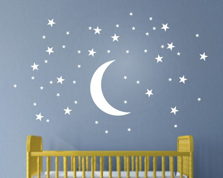 Aliexpress.com : Acquista 50 Stelle E La Luna Wall Stickers Per Bambini Camera Creativo Bianco stelle Del Bambino Stickers Murali Nursery Wall Art Decor Murale Carta Da Parati D857 da Fornitori sticker cartoon affidabili su Happiness Home Decoration