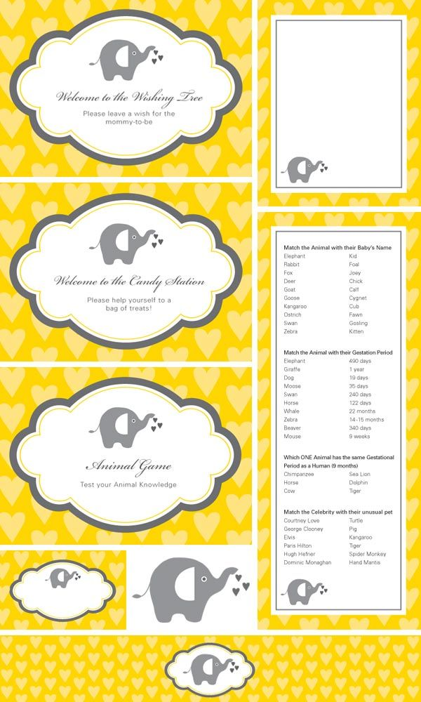 Bump Smitten: DIY Shower: Yellow & Gray Elephants Printables: Shower Ideas, Elephant Baby Showers, Shower Games, Shower Printable, Cute Ideas, Elephants Baby Shower, Free Printable, Barabout, Baby Shower