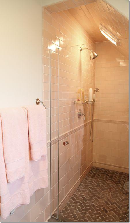 Herringbone Floor Subway Bath Pinterest Shower
