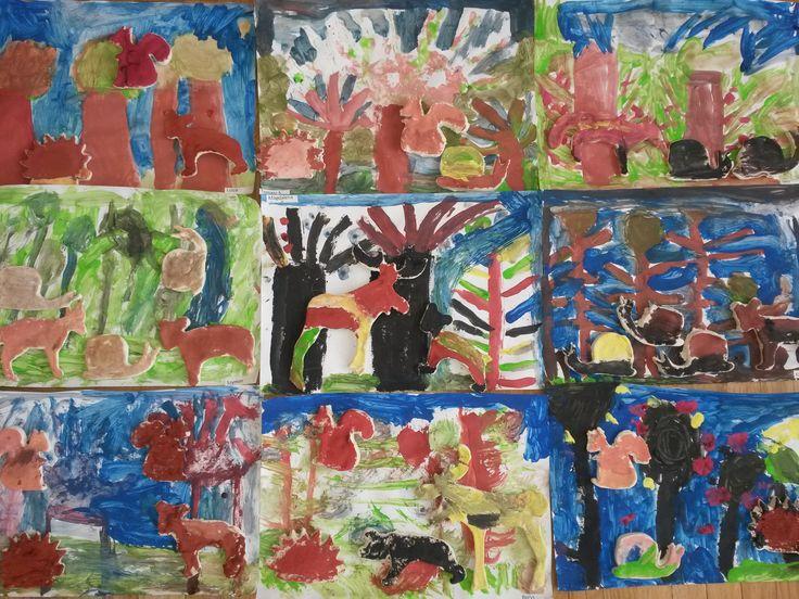 Prace 4 i 5- latków. Zwierzątka wykonane z masy solnej a następnie pomalowane farbkami, następnie przyklejona na namalowany przez dzieci las.