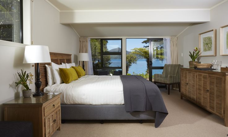 A Seaview grade room at the sublime Raetihi Lodge, Marlborough #food #wine #New Zealand Food and Wine #luxurytravel#premium travel#small group food and wine tours #NewZealand #NZ  #foodies #gorgeous #comfort travel #comfort #food #wine #culinary tourism #gourmet #journeys