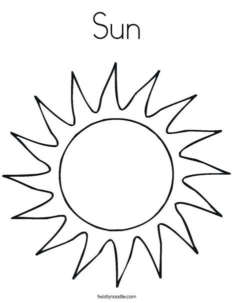 Sun Coloring Page from TwistyNoodle.com