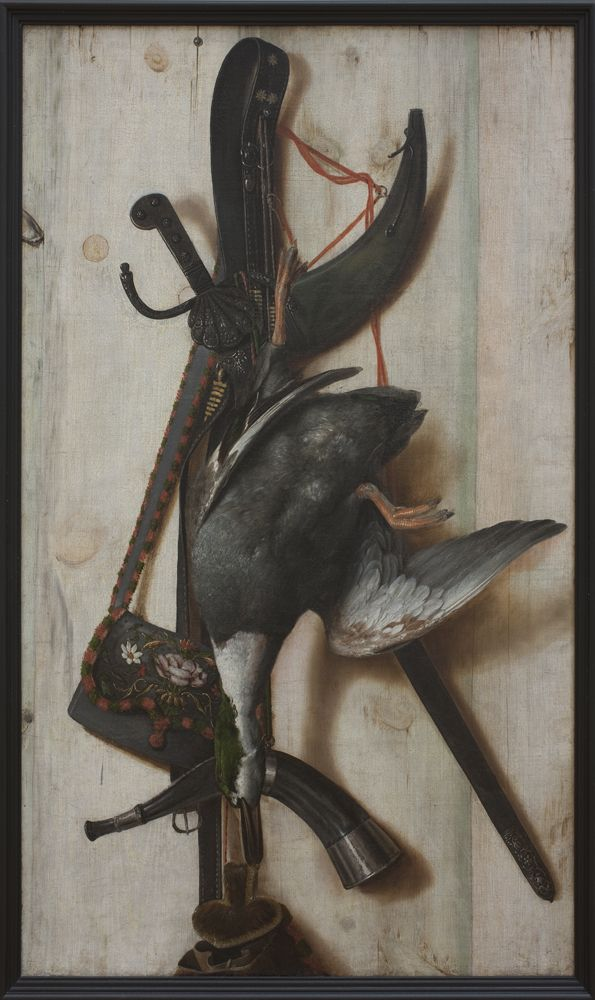 Trompe l'Oeil with Dead Duck and Hunting Implements | Cornelius Norbertus Gijsbrechts | About 1672 | Statens Museum for Kunst | CC0