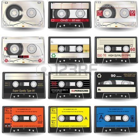 cassette tape: nine realistic audio Cassette Icons