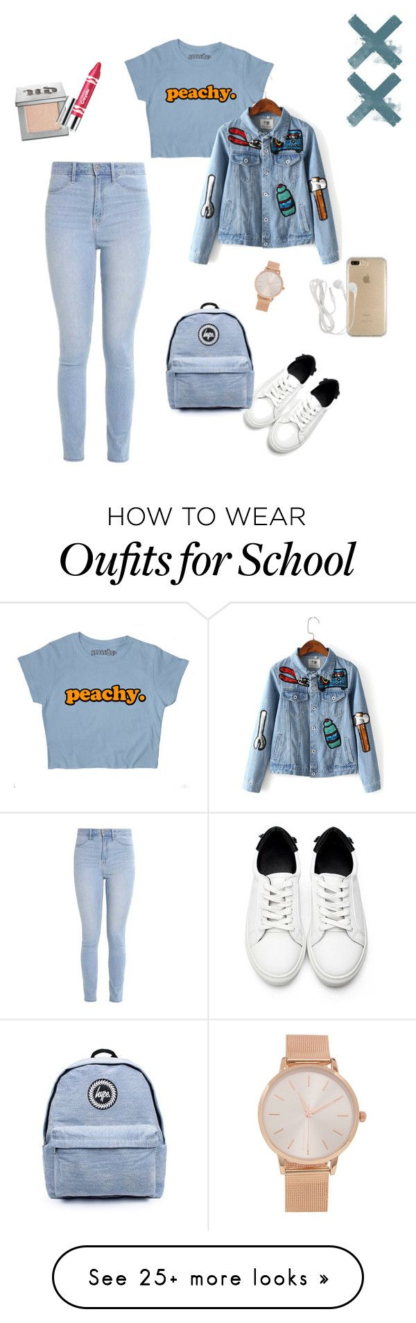 """School Set"" by dynzaavi on Polyvore featuring Hollister Co., Topshop, Urban Decay, Clinique, Speck and Aéropostale"
