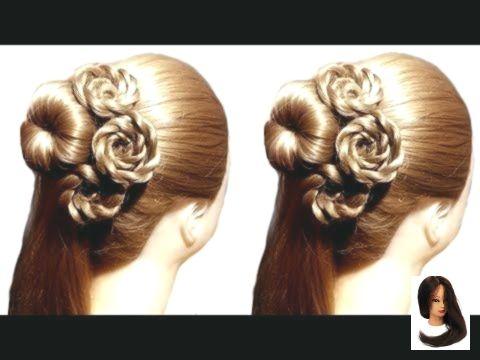 Very easy flower hairstyle bun for wedding
