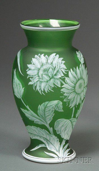 4133: Webb Cameo Glass Sunflower decorated green vase S : Lot 4133